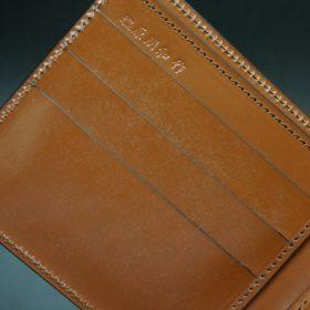 ホーウィン社製シェルコードバンの#4色の二つ折り財布(ゴールド色)-1-8