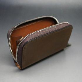 ホーウィン社製シェルコードバンのバーボン色のラウンドファスナー小銭入れ(シルバー色)-1-10