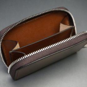ホーウィン社製シェルコードバンのバーボン色のラウンドファスナー小銭入れ(シルバー色)-1-11