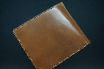 ホーウィン社製シェルコードバンのバーボン色の二つ折り財布(小銭入れ付き/シルバー)-1-1