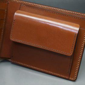 ホーウィン社製シェルコードバンのバーボン色の二つ折り財布(小銭入れ付き/シルバー)-1-10
