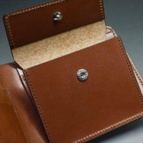 ホーウィン社製シェルコードバンのバーボン色の二つ折り財布(小銭入れ付き/シルバー)-1-12