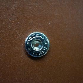 ホーウィン社製シェルコードバンのバーボン色の二つ折り財布(小銭入れ付き/シルバー)-1-13