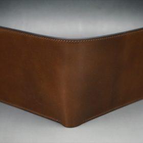 ホーウィン社製シェルコードバンのバーボン色の二つ折り財布(小銭入れ付き/シルバー)-1-2