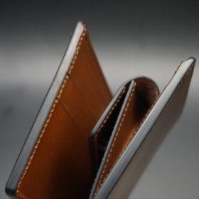 ホーウィン社製シェルコードバンのバーボン色の二つ折り財布(小銭入れ付き/シルバー)-1-4