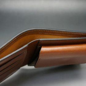 ホーウィン社製シェルコードバンのバーボン色の二つ折り財布(小銭入れ付き/シルバー)-1-6