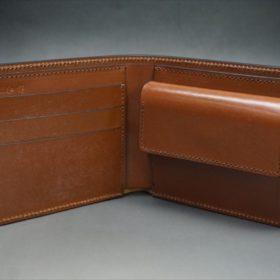 ホーウィン社製シェルコードバンのバーボン色の二つ折り財布(小銭入れ付き/シルバー)-1-8