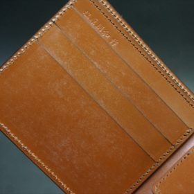 ホーウィン社製シェルコードバンのバーボン色の二つ折り財布(小銭入れ付き/シルバー)-1-9