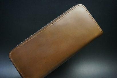 ホーウィン社製シェルコードバンのバーボン色のラウンドファスナー長財布(ゴールド色)-1-1