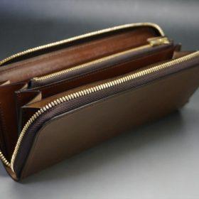 ホーウィン社製シェルコードバンのバーボン色のラウンドファスナー長財布(ゴールド色)-1-10