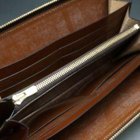 ホーウィン社製シェルコードバンのバーボン色のラウンドファスナー長財布(ゴールド色)-1-11