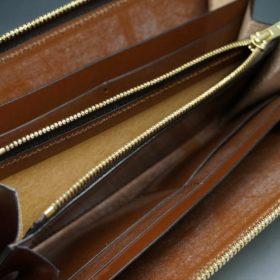 ホーウィン社製シェルコードバンのバーボン色のラウンドファスナー長財布(ゴールド色)-1-13