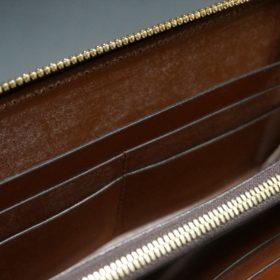 ホーウィン社製シェルコードバンのバーボン色のラウンドファスナー長財布(ゴールド色)-1-14