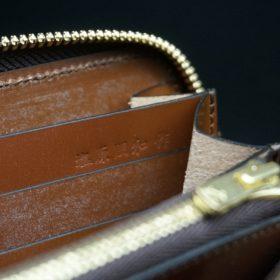 ホーウィン社製シェルコードバンのバーボン色のラウンドファスナー長財布(ゴールド色)-1-15