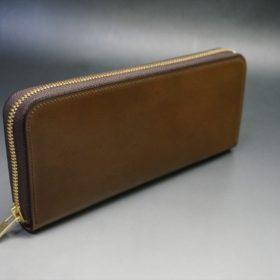 ホーウィン社製シェルコードバンのバーボン色のラウンドファスナー長財布(ゴールド色)-1-2