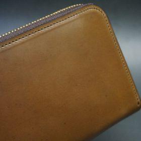 ホーウィン社製シェルコードバンのバーボン色のラウンドファスナー長財布(ゴールド色)-1-3