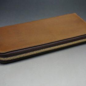 ホーウィン社製シェルコードバンのバーボン色のラウンドファスナー長財布(ゴールド色)-1-6