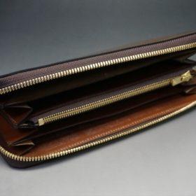 ホーウィン社製シェルコードバンのバーボン色のラウンドファスナー長財布(ゴールド色)-1-7