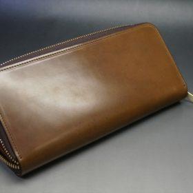 ホーウィン社製シェルコードバンのバーボン色のラウンドファスナー長財布(ゴールド色)-1-8