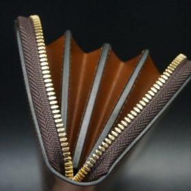 ホーウィン社製シェルコードバンのバーボン色のラウンドファスナー長財布(ゴールド色)-1-9