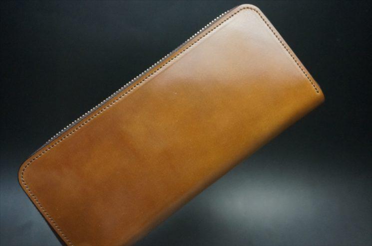 ホーウィン社製シェルコードバンのバーボン色のラウンドファスナー長財布(シルバー色)-1-1