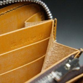 ホーウィン社製シェルコードバンのバーボン色のラウンドファスナー長財布(シルバー色)-1-12