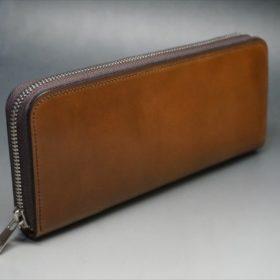 ホーウィン社製シェルコードバンのバーボン色のラウンドファスナー長財布(シルバー色)-1-2