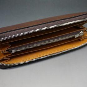 ホーウィン社製シェルコードバンのバーボン色のラウンドファスナー長財布(シルバー色)-1-6