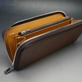 ホーウィン社製シェルコードバンのバーボン色のラウンドファスナー長財布(シルバー色)-1-7