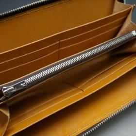 ホーウィン社製シェルコードバンのバーボン色のラウンドファスナー長財布(シルバー色)-1-8