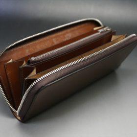ホーウィン社製シェルコードバンのバーボン色を使用したラウンドファスナー(シルバー色)-2-10
