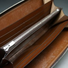 ホーウィン社製シェルコードバンのバーボン色を使用したラウンドファスナー(シルバー色)-2-11