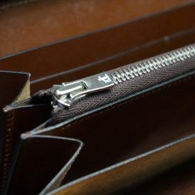 ホーウィン社製シェルコードバンのバーボン色を使用したラウンドファスナー(シルバー色)-2-12