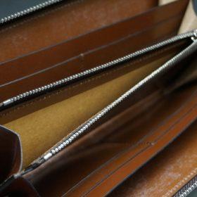 ホーウィン社製シェルコードバンのバーボン色を使用したラウンドファスナー(シルバー色)-2-13