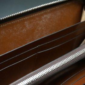 ホーウィン社製シェルコードバンのバーボン色を使用したラウンドファスナー(シルバー色)-2-14