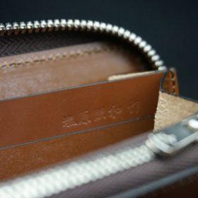 ホーウィン社製シェルコードバンのバーボン色を使用したラウンドファスナー(シルバー色)-2-15
