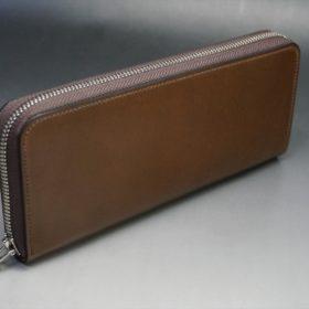 ホーウィン社製シェルコードバンのバーボン色を使用したラウンドファスナー(シルバー色)-2-2