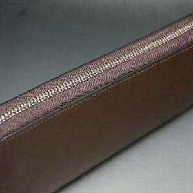 ホーウィン社製シェルコードバンのバーボン色を使用したラウンドファスナー(シルバー色)-2-4