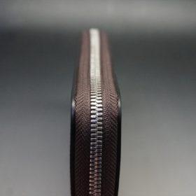 ホーウィン社製シェルコードバンのバーボン色を使用したラウンドファスナー(シルバー色)-2-5