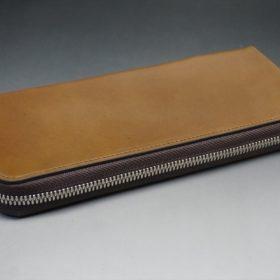 ホーウィン社製シェルコードバンのバーボン色を使用したラウンドファスナー(シルバー色)-2-6