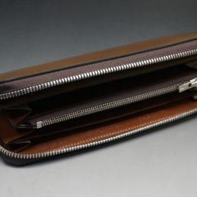 ホーウィン社製シェルコードバンのバーボン色を使用したラウンドファスナー(シルバー色)-2-7