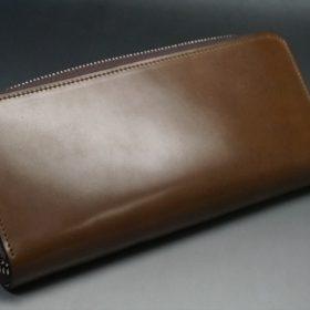 ホーウィン社製シェルコードバンのバーボン色を使用したラウンドファスナー(シルバー色)-2-8
