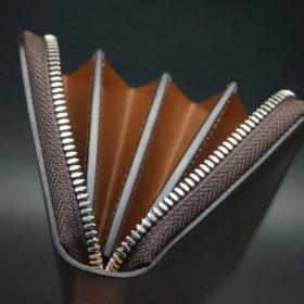 ホーウィン社製シェルコードバンのバーボン色を使用したラウンドファスナー(シルバー色)-2-9