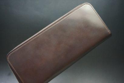 ホーウィン社製シェルコードバンのダークコニャック色のラウンドファスナー長財布(ゴールド色)-1-1