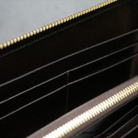 ホーウィン社製シェルコードバンのダークコニャック色のラウンドファスナー長財布(ゴールド色)-1-10