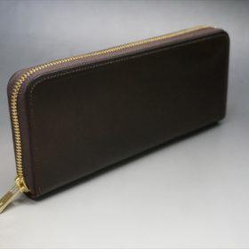 ホーウィン社製シェルコードバンのダークコニャック色のラウンドファスナー長財布(ゴールド色)-1-2