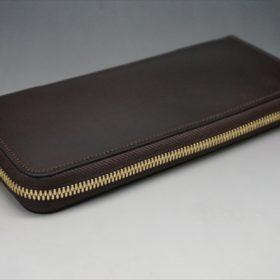 ホーウィン社製シェルコードバンのダークコニャック色のラウンドファスナー長財布(ゴールド色)-1-5