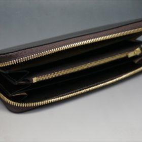 ホーウィン社製シェルコードバンのダークコニャック色のラウンドファスナー長財布(ゴールド色)-1-6