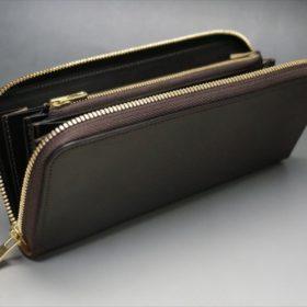 ホーウィン社製シェルコードバンのダークコニャック色のラウンドファスナー長財布(ゴールド色)-1-7