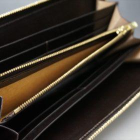 ホーウィン社製シェルコードバンのダークコニャック色のラウンドファスナー長財布(ゴールド色)-1-9
